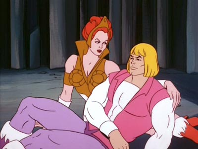 Teela and Prince Adam on the ground