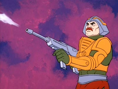 Man-At-Arms has a gun