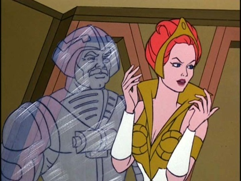 Teela and a crystalized Man-At-Arms