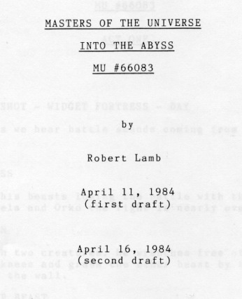 Into the Abyss by Robert Lamb 2nd draft script cover