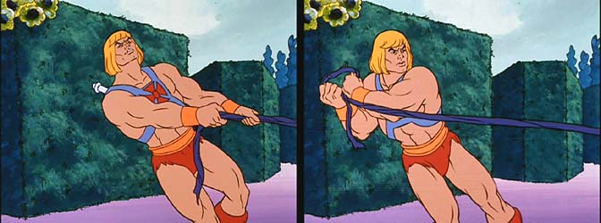 He-Man struggles but wins the tug-of-war